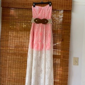 Cute belted Strapless sundress size S